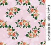 seamless floral pattern with... | Shutterstock .eps vector #659374945