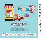 online shopping concept. mobile ... | Shutterstock .eps vector #659380651