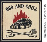 barbecue and grill. grilled... | Shutterstock .eps vector #659397415