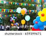 colorful triangular flags of... | Shutterstock . vector #659399671