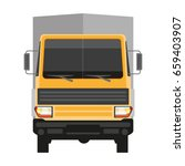lorry with grey trailer... | Shutterstock .eps vector #659403907