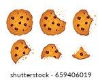 bitten  chip cookie ... | Shutterstock . vector #659406019