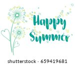 Happy Summer Vector Card With...