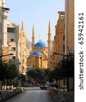 Small photo of The magnificent Al-Amine Mosque in downtown beirut, looking through downtown over the clock-tower (Lebanon)