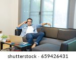 young man working from home... | Shutterstock . vector #659426431