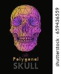 low poly vector skull front... | Shutterstock .eps vector #659436559