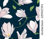 magnolia sakura spring tree... | Shutterstock .eps vector #659437291