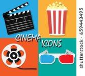big open clapper board movie... | Shutterstock .eps vector #659443495