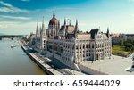 Hungarian parliament aerial view
