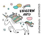 unicorn party illustration | Shutterstock .eps vector #659445505