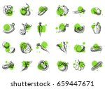 vegetable vector set. hand... | Shutterstock .eps vector #659447671