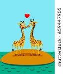 Giraffes In Love. Funny Vector...