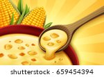 corn soup 3d illustration  can... | Shutterstock .eps vector #659454394