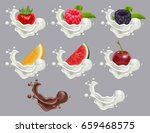 set dessert of ripe berry fruit ... | Shutterstock .eps vector #659468575