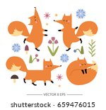 cute hand drawn vector foxes... | Shutterstock .eps vector #659476015