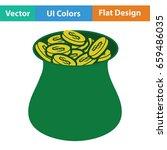open money bag icon. flat color ...