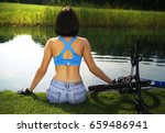 beautiful woman sitting on the...   Shutterstock . vector #659486941