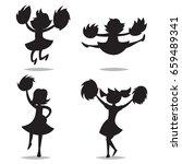cheerleaders with pom poms... | Shutterstock .eps vector #659489341