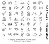 camping and outdoor outline... | Shutterstock .eps vector #659491141