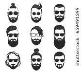 set of 9 hipsters bearded men... | Shutterstock .eps vector #659491399