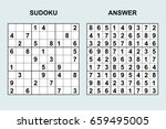 vector sudoku with answer 58.... | Shutterstock .eps vector #659495005