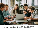 young women working and...   Shutterstock . vector #659498275