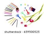 children's art set of pencils... | Shutterstock . vector #659500525