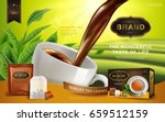 black tea ad  with tea leaves... | Shutterstock .eps vector #659512159