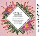 floral border with tropical... | Shutterstock .eps vector #659516185