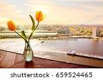 yellow tulips at sunset.... | Shutterstock . vector #659524465