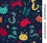 witch's cat seamless pattern....   Shutterstock .eps vector #659534014