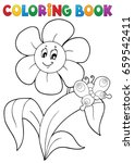 coloring book flower topic 4  ... | Shutterstock .eps vector #659542411