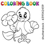 coloring book chicken with... | Shutterstock .eps vector #659542459