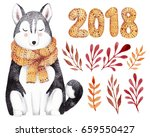Stock photo watercolor kit for christmas or new year greeting card hand drawn illustration with husky 659550427