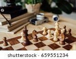 part of chessboard with chess... | Shutterstock . vector #659551234