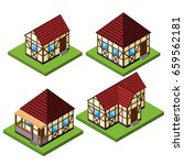 vector rural isometric house... | Shutterstock .eps vector #659562181