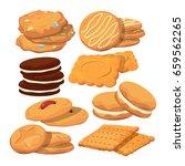 decorated cookies in cartoon... | Shutterstock .eps vector #659562265