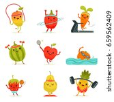funny fruits make fitness... | Shutterstock .eps vector #659562409