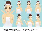 face care woman set | Shutterstock .eps vector #659563621