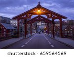 old wooden bridge   gamle bybro ... | Shutterstock . vector #659564569