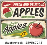 apples retro signs | Shutterstock .eps vector #659567245