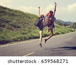 diverse backpacker women... | Shutterstock . vector #659568271