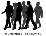 vector  silhouette people go | Shutterstock .eps vector #659569459