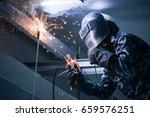 arc welding of a steel in... | Shutterstock . vector #659576251