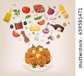 famous dish of italian cuisine. ... | Shutterstock .eps vector #659581471