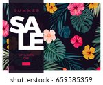 tropical vector sale design... | Shutterstock .eps vector #659585359