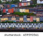 rows of colorful houses looking ... | Shutterstock . vector #659593561