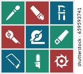 saw icons set. set of 9 saw... | Shutterstock .eps vector #659593741