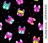 abstract seamless dogs pattern... | Shutterstock .eps vector #659594545