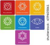 set of seven chakra symbols... | Shutterstock .eps vector #659605861